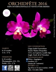 Eastern Canada Orchid Society (ECOS) -Orchidfête 2016 @ CEGEP Andre Laurendeau    Montréal   Québec   Canada