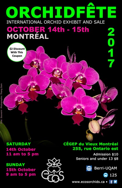 Eastern Canada Orchid Society Show and Sale @ CEGEP du Vieux Montreal | Montréal | Québec | Canada