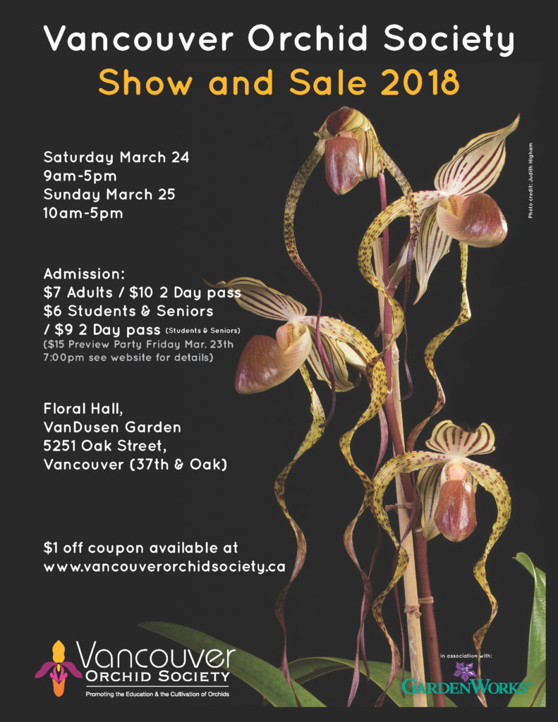 Vancouver Orchid Society Show & Sale @ VanDusen Botanical Garden, Floral Hall | Vancouver | British Columbia | Canada