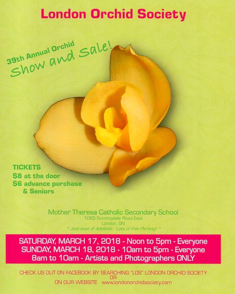 London Orchid Society 39th Annual Orchid Show & Sale @ Mother Theresa Catholic Secondary School | London | Ontario | Canada