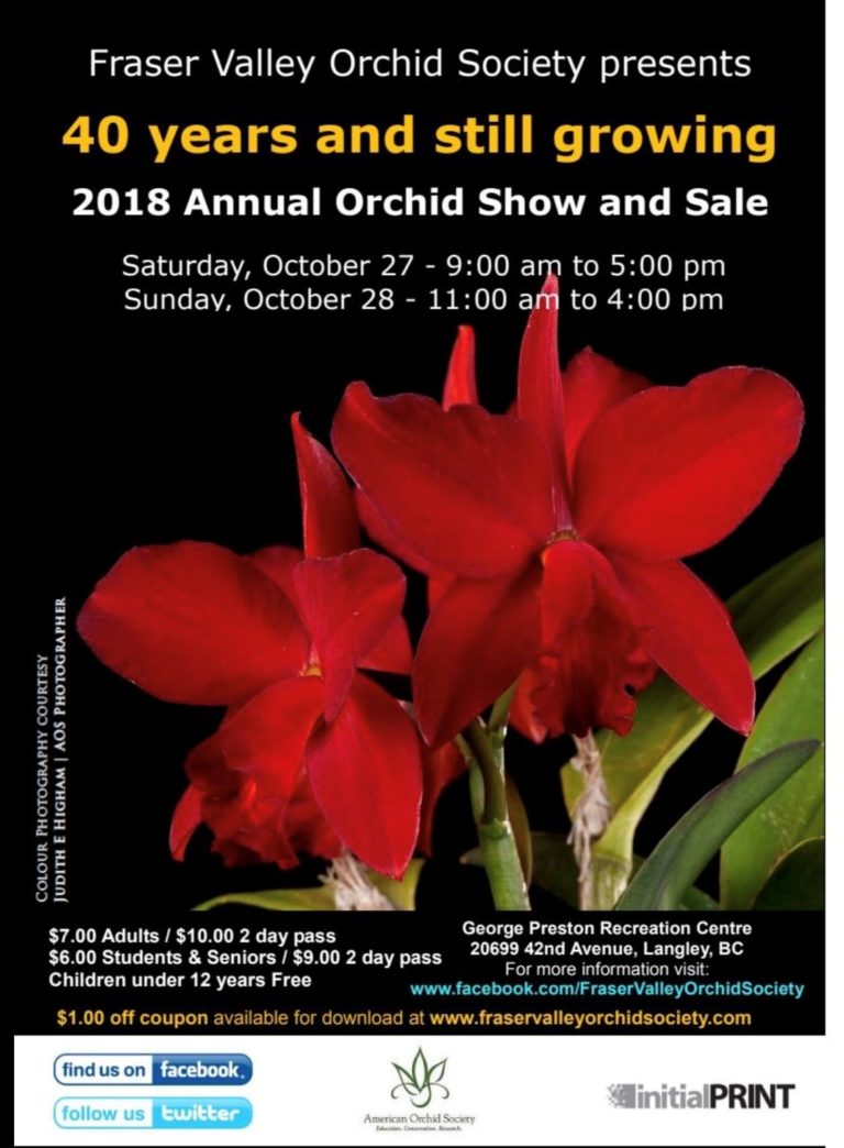 Fraser Valley Orchid Society Show & Sale @ George Preston Recreation Centre | Langley | British Columbia | Canada