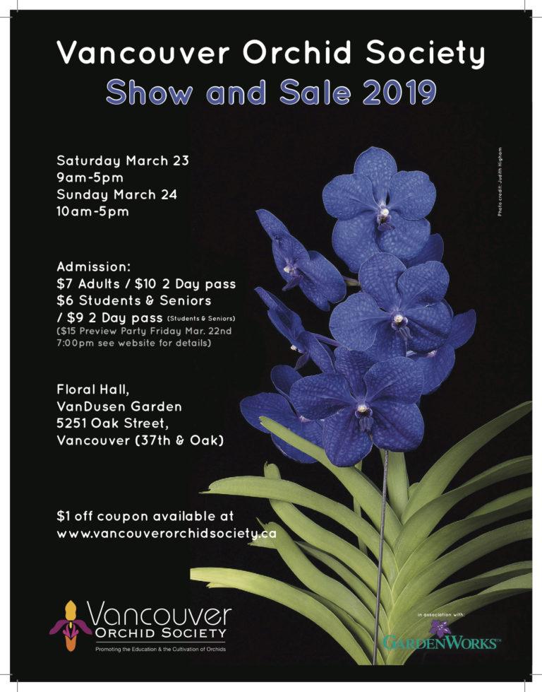 Vancouver Orchid Society Show & Sale 2019 @ Flora Hall, VanDusen Garden