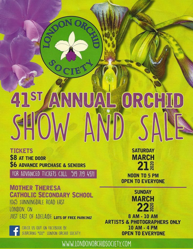 London Orchid Society:  41st Annual Orchid Show and Sale - CANCELLED @ Mother Theresa Catholic Secondary School