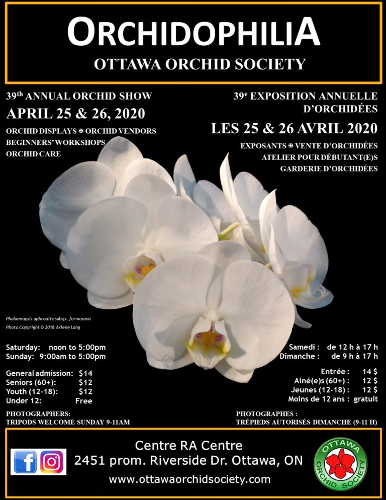 Ottawa Orchid Society 39th Annual Orchid Show: Orchidophilia - CANCELLED @ RA Centre